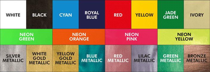 Colori in cui è disponibile il Forever Flex-Soft (No-Cut): bianco, nero, ciano, blu royal, rosso, giallo, verde giada, avorio; verde neon, arancione neon, rosa neon, giallo neon; argento metallico, oro bianco metallico, oro giallo metallico, blu metallico, rosso metallico, lilla metallico, verde metallico, bronzo metallico
