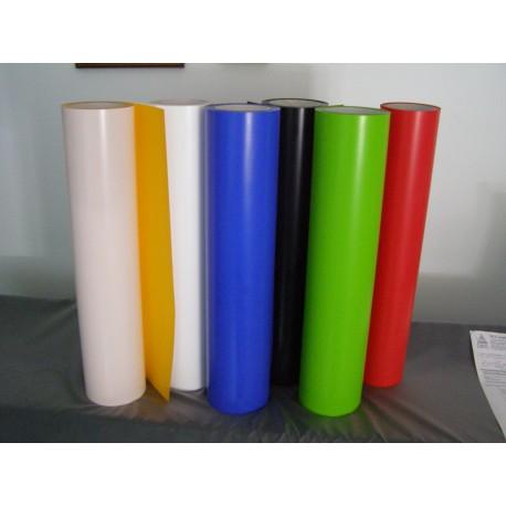 Sei bobine di Poli-Flex Premium; da sinistra a destra, di colore giallo, bianco, blu royal, blu navy, verde mela e rosso